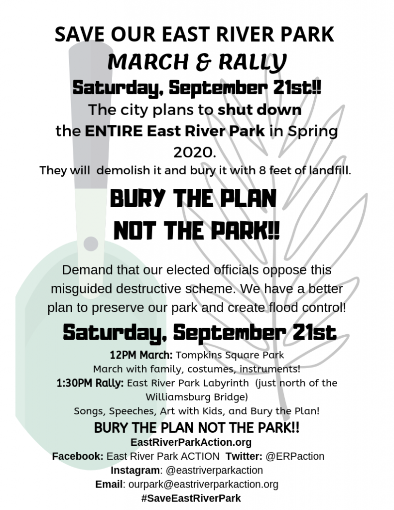 Flyer Save Our East River park March and Rally Sept. 21